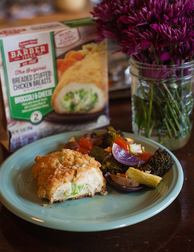 NEW Barber Foods Broccoli Cheese Chicken & Herb Roasted Vegetables