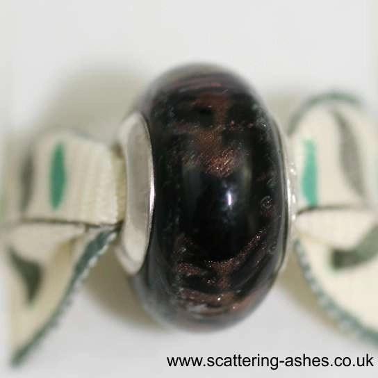 Pandora Ashes Charm Bead - Black Stardust
