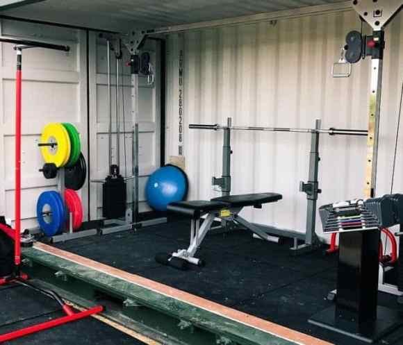 Shipping container gym setup