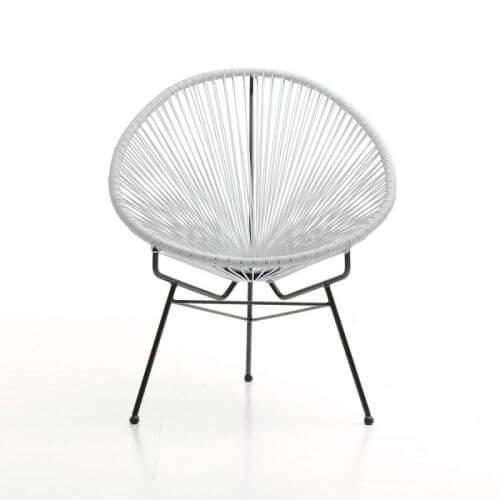 fauteuil design blanc acapulco