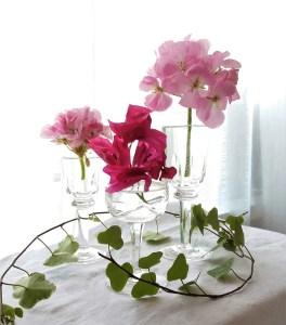 krystallglass og blomster