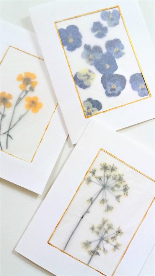 kort med pressede blomster