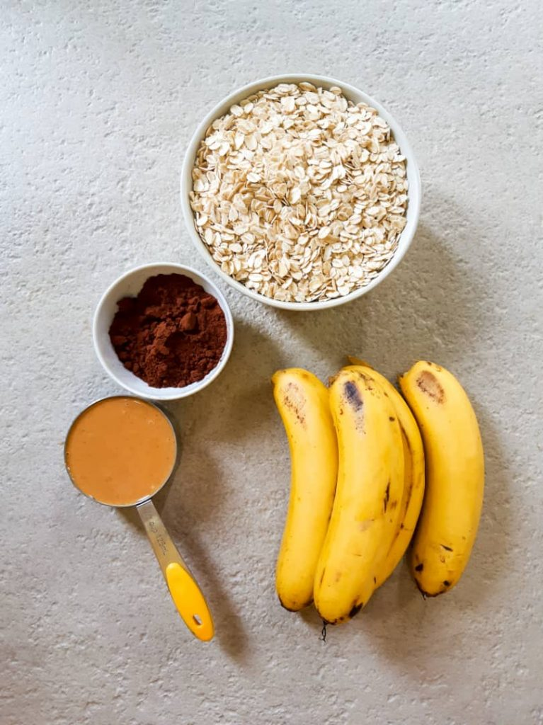 Ingredients needed for vegan baked oatmeal.