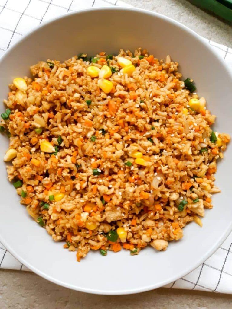 Vegan fried rice close up