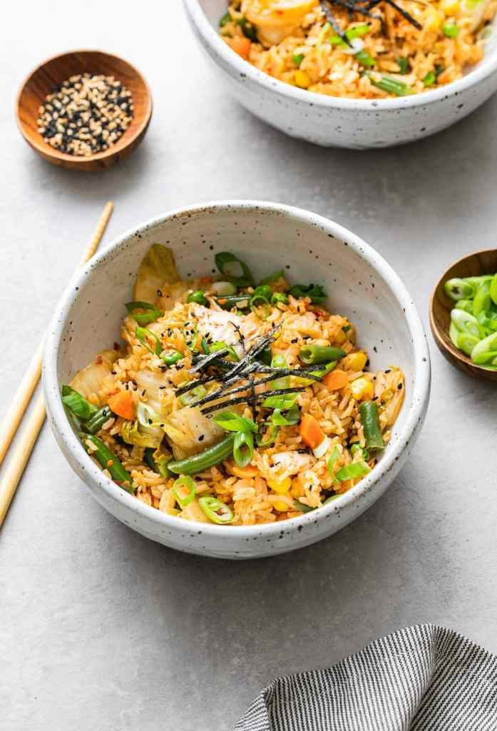 Kimchi fried rice in a white bowl