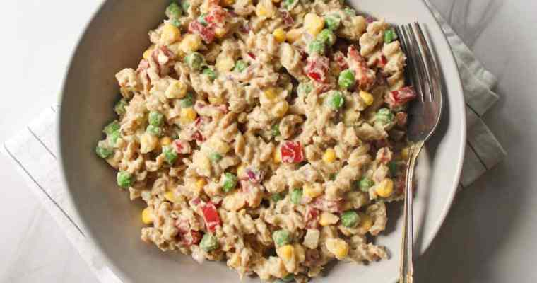 Easy Veggie Pasta Salad Recipe ( Creamy & OF )