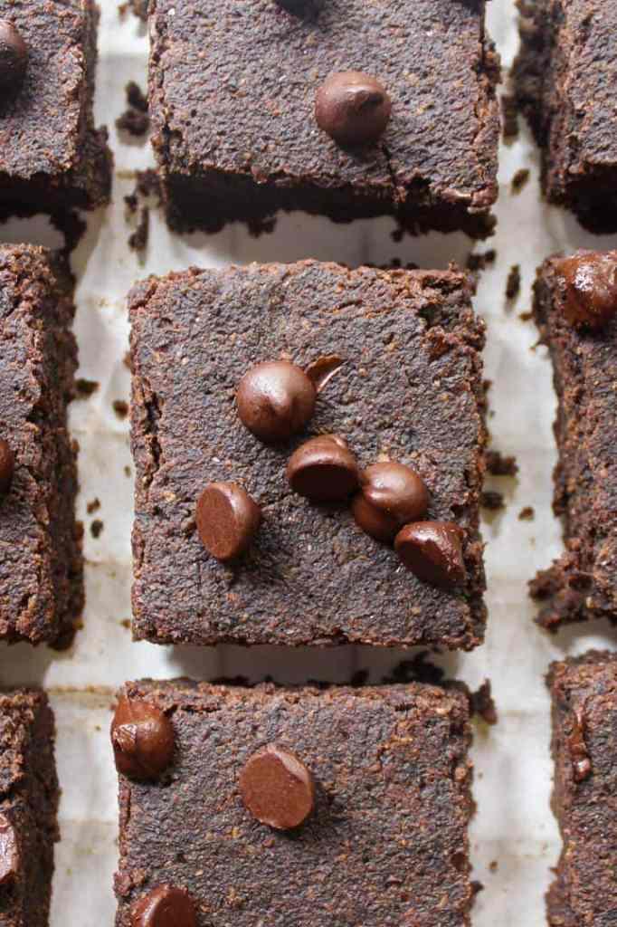 A close up shot of vegan brownies