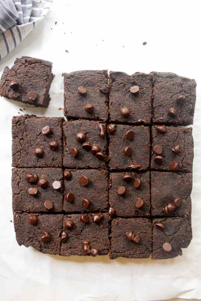 An overhead shot of the whole black bean brownies