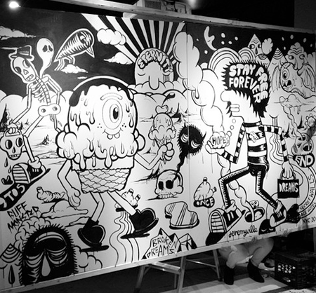 Jeremyville and Buff Monster at Secret Walls