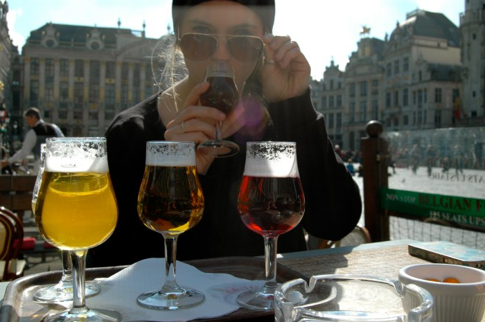 Enjoying an afternoon drink in Brussels, Belgium.