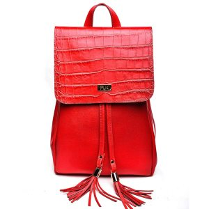 BACKPACK PLIK Red Saffiano Red Croc