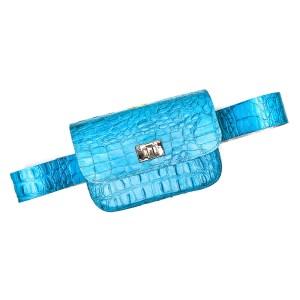 BELT BAG PLIK Turquoise Croc Print