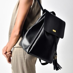 BACKPACK PLIK Black Saffiano