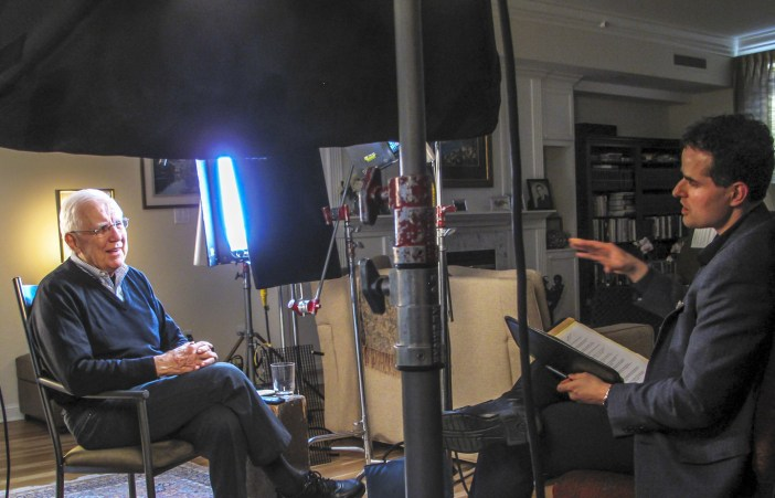 Director and writer David Naglieri interviewing former Reagan National Security Advisor Richard Allen in his Denver home