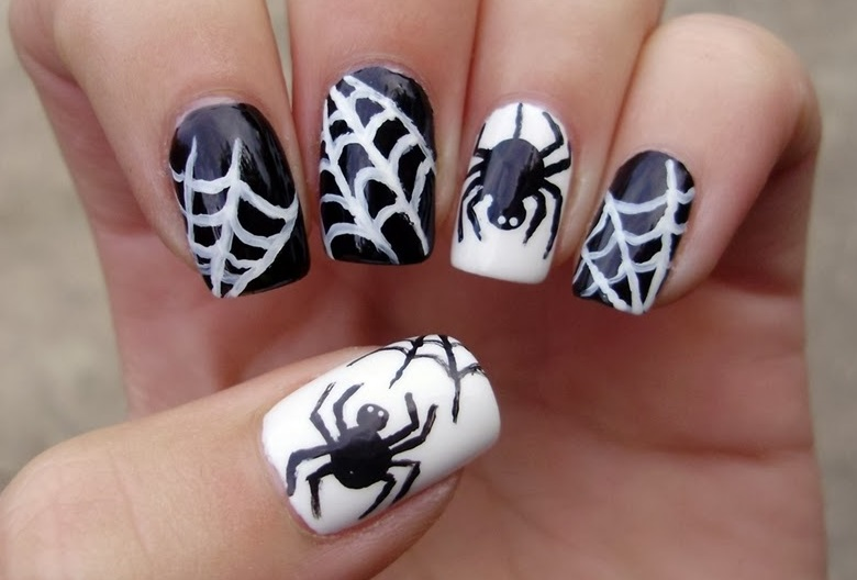 halloweennailartchallenge_2013_spiderwebs_1