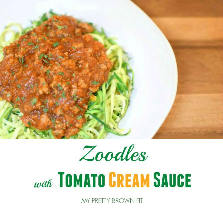 Zoodles with Tomato Cream Sauce My Pretty Brown Fit