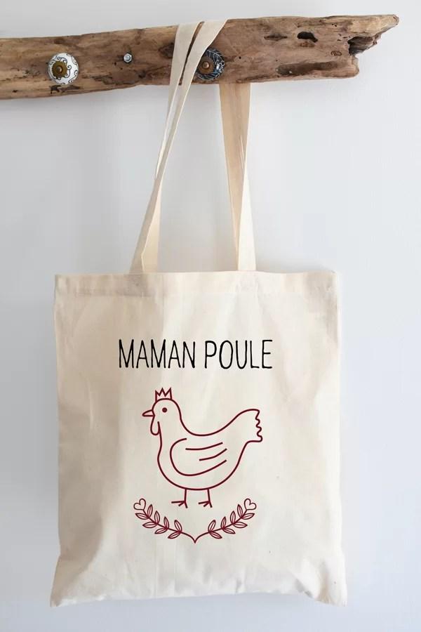 """Tote bag coton """"maman poule vintage"""""""