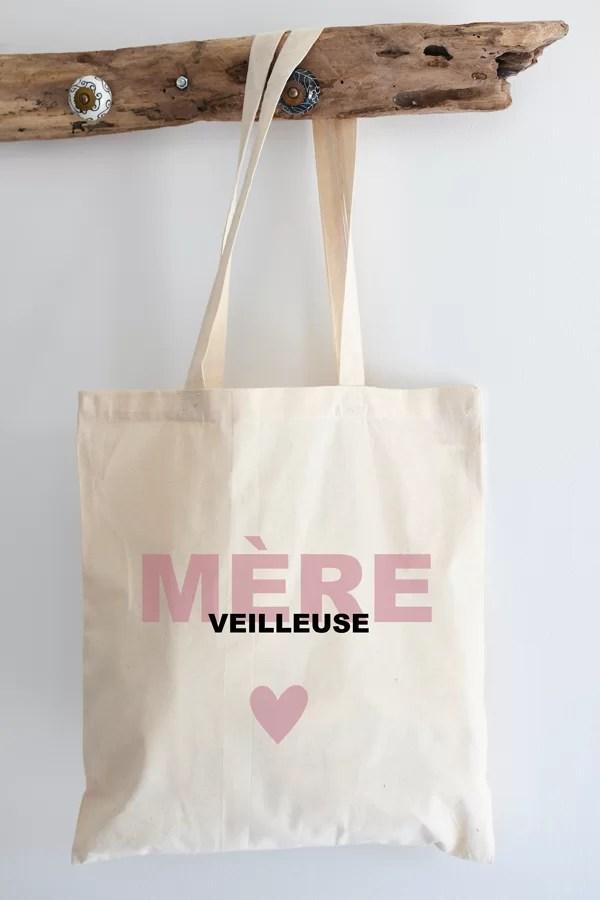 "Tote bag 100% coton ""mère veilleuse rose"""