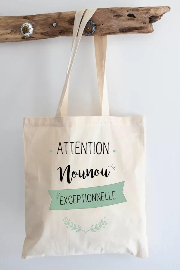 """Tote bag 100% """"nounou exceptionnelle"""""""
