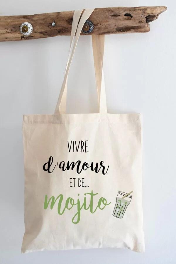 """tote bag coton """"D'amour et de mojito"""""""