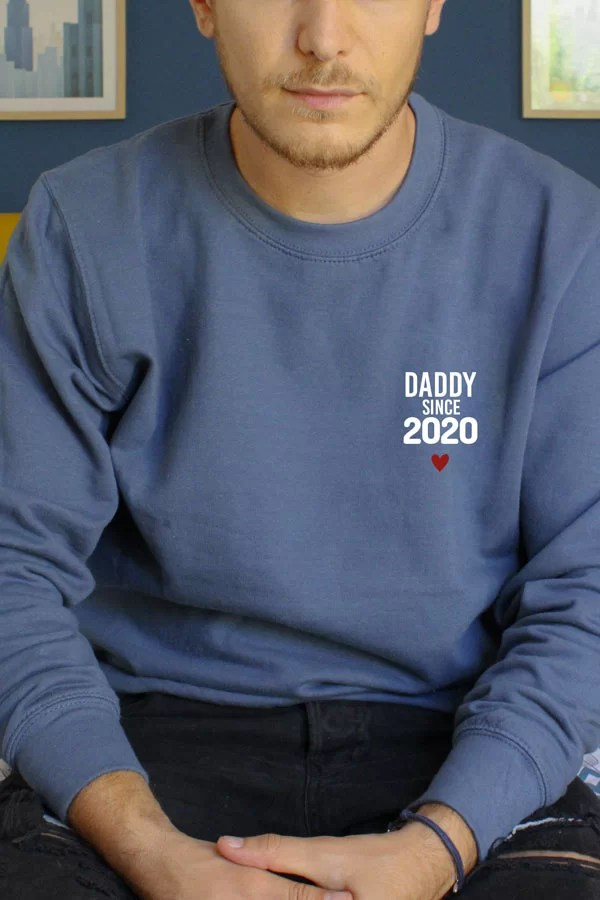 pull bleu personnalisé pour homme - papa