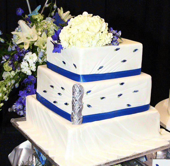 Wedding Cakes  Catering   Floral Services   Price Chopper Tiered square with Elegant Jewels