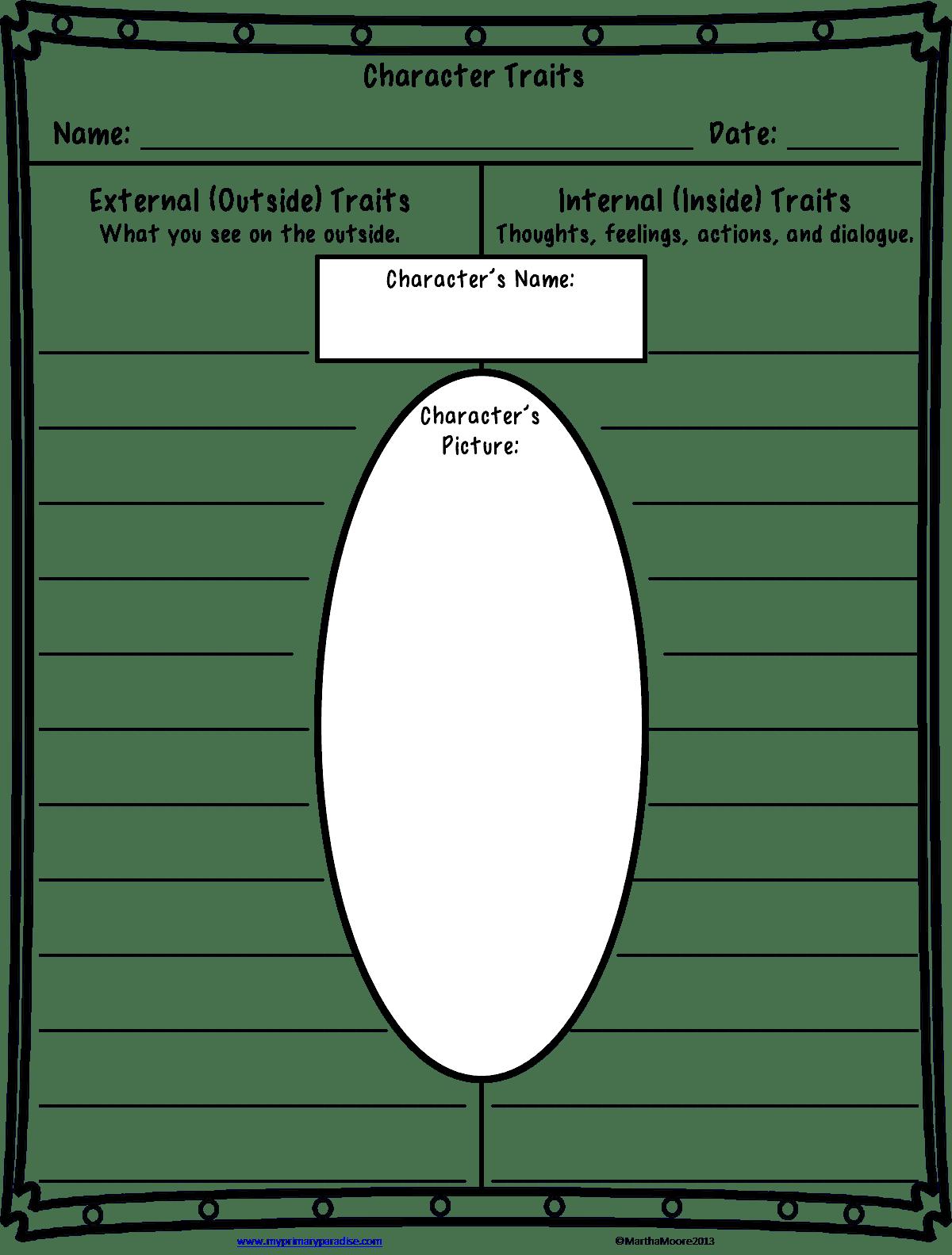 Free Character Traits Worksheet