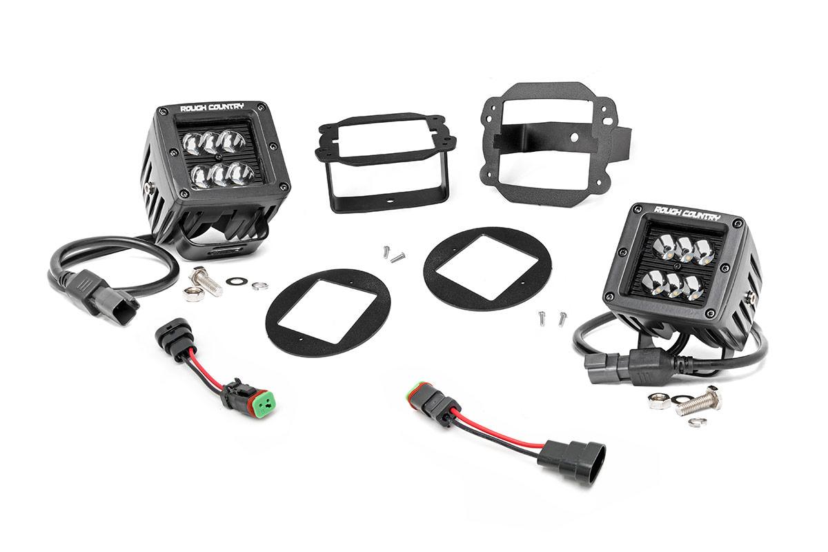 2 Inch Black Series Cree Led Fog Light Kit 07 18 Wrangler Jk
