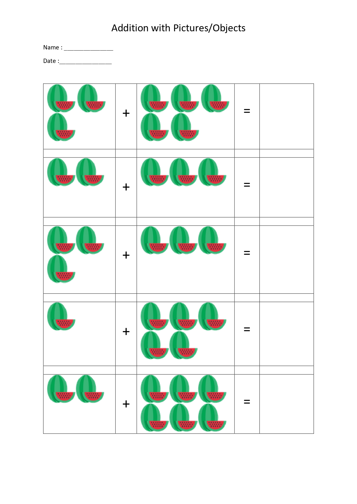 20 Sheets Math Addition Worksheets With Pictures For