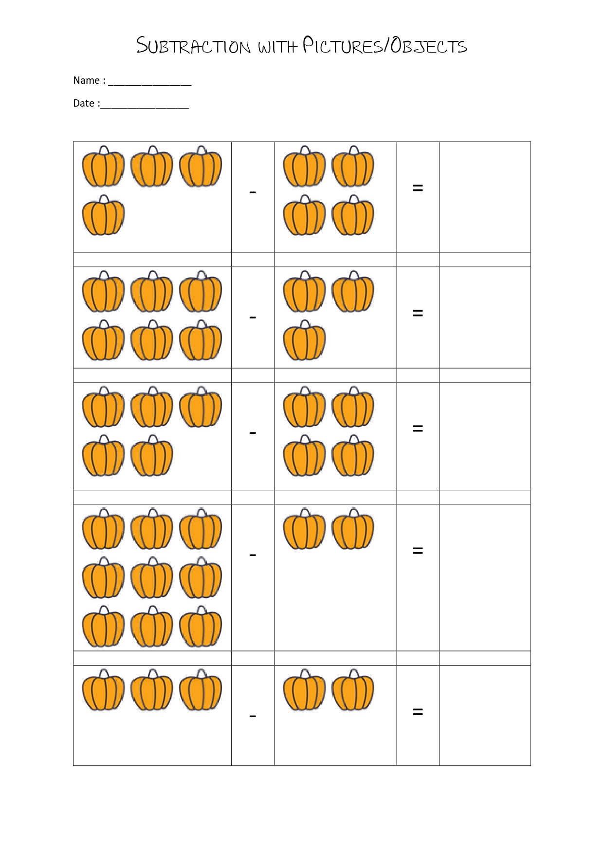 20 Subtraction Worksheets With Pictures For Kindergarten