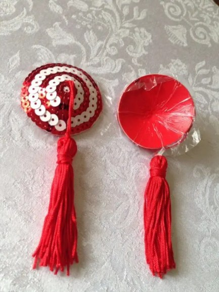 Red & White Swirl Round Sequin Pasties with Tassels
