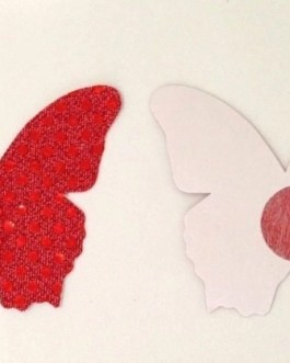 Red Shiny Butterfly Nipple Covers – Pasties – Adhesive Back – Dancewear – Gift