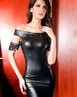 Leather Look Open Shoulder Club/Party Dress With Matching G-String