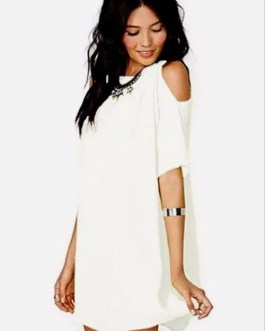 Semi Sheer Chiffon Cold-Shoulder Mini Dress Bikini Cover Up in 5 Colors-XL