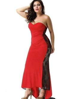 Formal Strapless Maxi Dress In Red With Black Lace