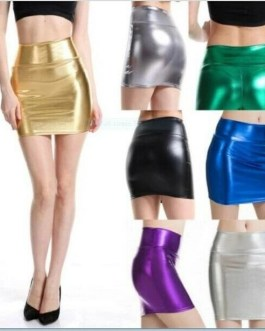 Women's Fashion Metallic Look Stretch Skirt