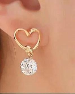 Heart Earrings With Faux Diamond Drop