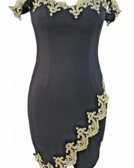 Gold Embroidery Embellished Black Formal Dress-Sleeveless-Women-Size L