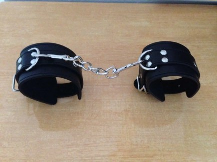 Leather Wrist Cuffs with Detachable Connecting Chain