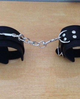 Leather Wrist Cuffs with Detachable Chain