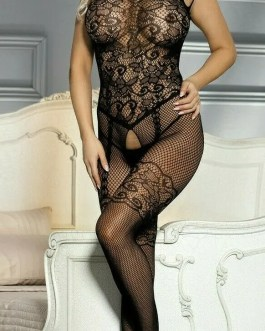 Sensuous Bodystockings Floral Design In Black Fishnet