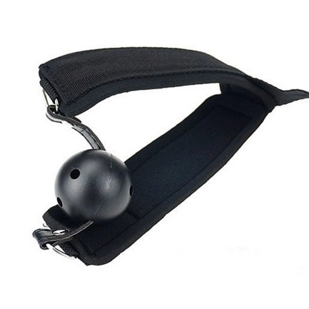 Restraint- Collar with Ball Gag, Solid Strap to Handcuffs