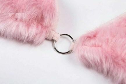 Pink Fur Bra Strap Top