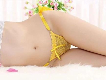 Ribbon Tie Sheer Lace Thong Panties