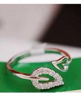 Silver Tone Split Leaf Rhinestone Wrap Ring