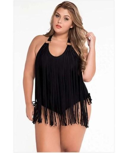 Plus Size Fringe Embellished Monokini Halter Swimsuit