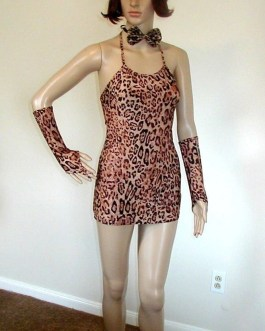 6 pcs Leopard Lady Halloween Costume Mini Dress