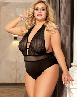 Sexy Plus Size Lace High Quality Teddy In Black