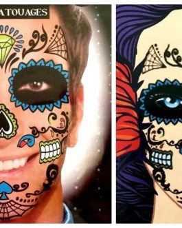 Day Of The Dead Temporary Face Tattoos