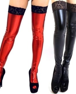 Leather Look Metallic Sheen Thigh High Stockings In Three Colors